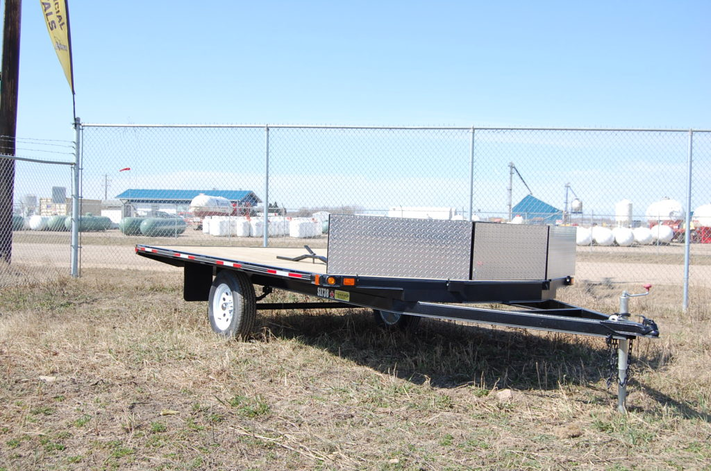 PJ Trailer 20' Equipment Haulertrailer.c/w Tandem 5200lbs axles,pine plank decking,black rims and 5' slide in ramps.