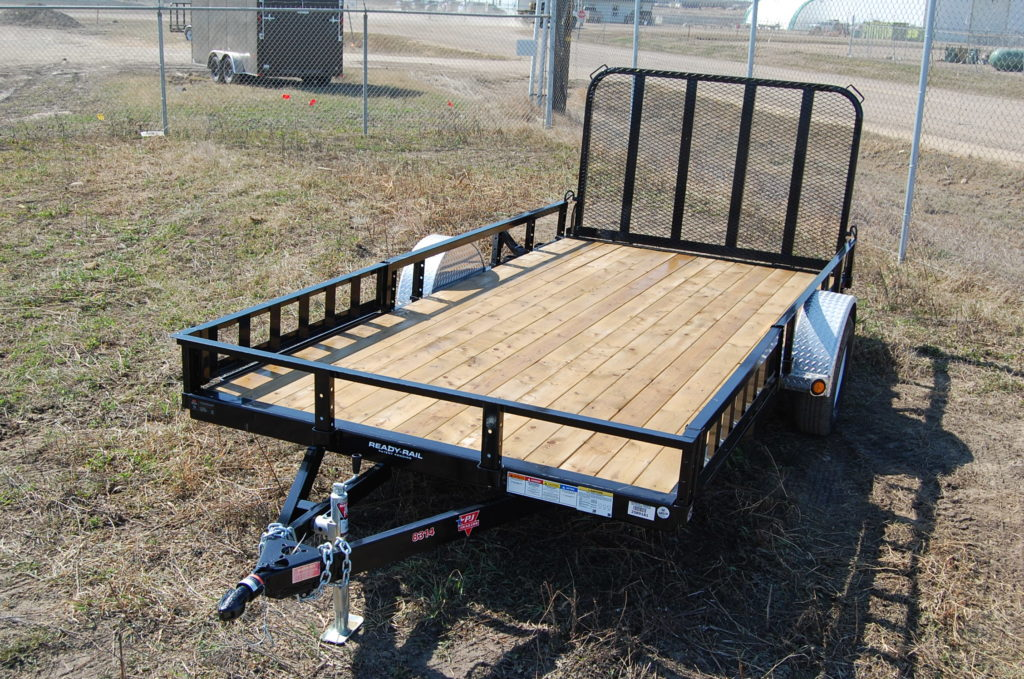 Double A flat deck ATV trailer 8.5' w x 14'L single 3500lbs axle. c/w aluminum slush gaurd LED lighting,4.5x7' ramp.