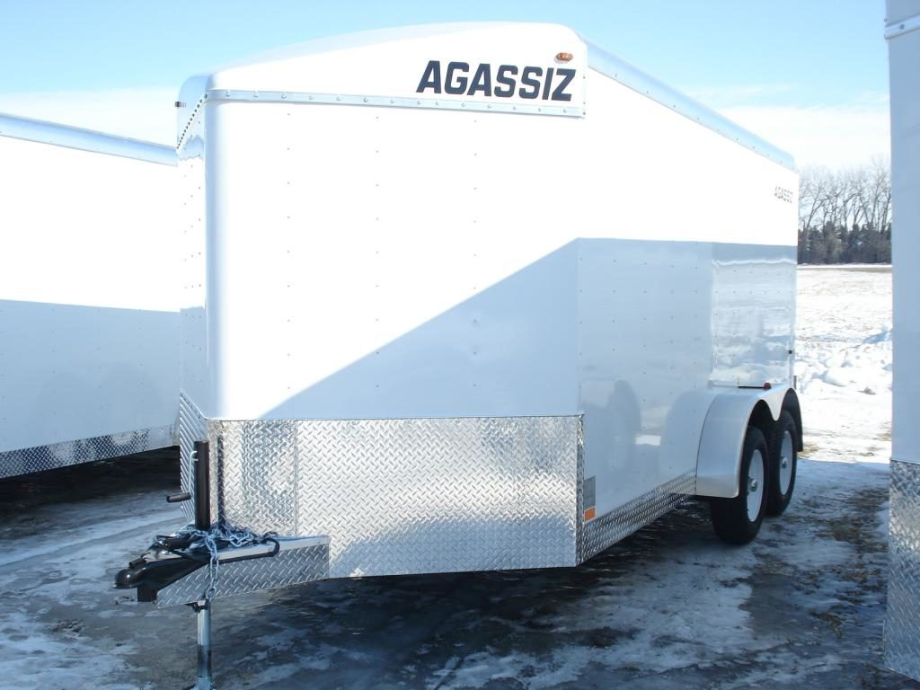 agassiz v-nosetandem axle enclosed trailer. c/w 6 in floor d-rings, e- track 22
