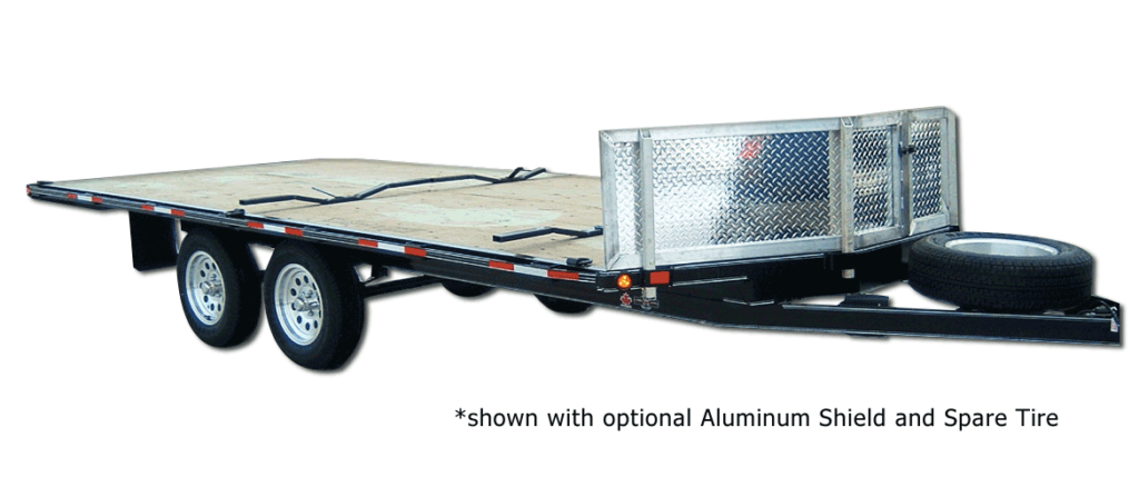 Double A (trail pro) car hauler trailer. c/w (2) 5200lbs axles,5' slide in ramps,rub rails and LED lighting